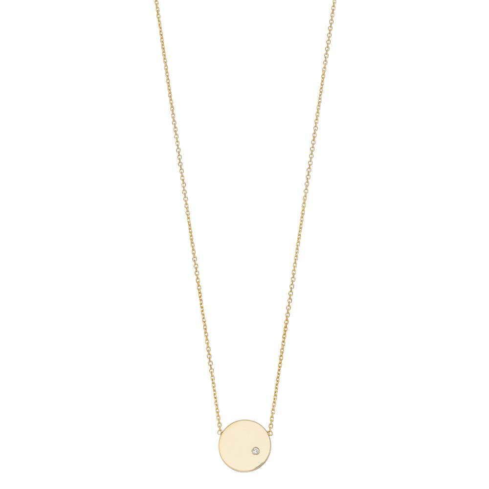 14K Gold Round Disk Diamond Accent Pendant Necklace