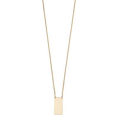 14K Gold Bar Pendant Necklace