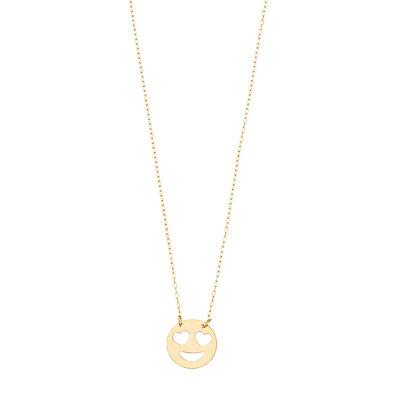 14K Gold Heart Eyes Smiley Pendant Necklace