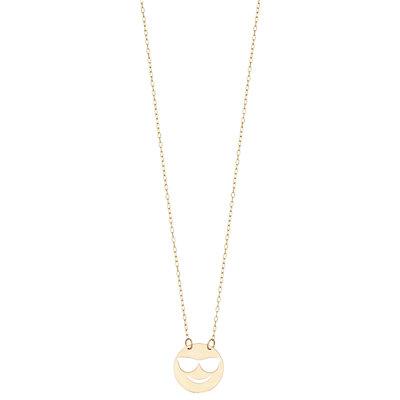 14K Gold Sunglasses Smiley Pendant Necklace