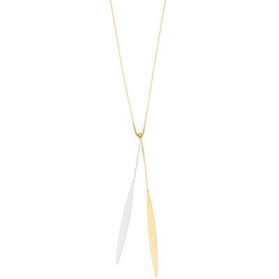 14K Gold Two-Tone Drop Chain Pendant Necklace