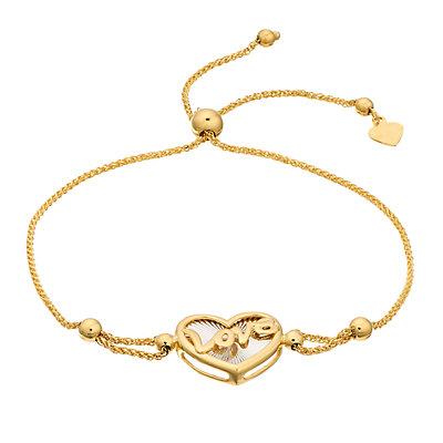 14K Gold Heart Adjustable Bracelet