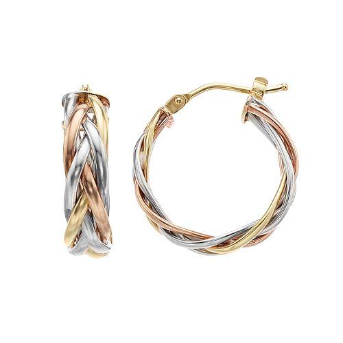 14K Gold Tri-Tone Braided Hoop Earrings