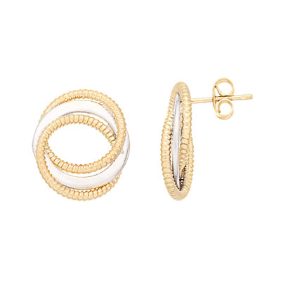 14K Gold Open Twisted Circle Post Earrings