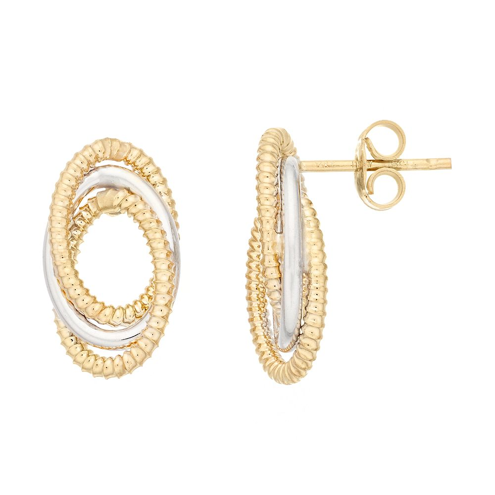 14K Gold Twisted Open Circles Post Earrings