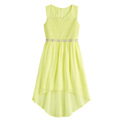Girls 7-16 My Michelle Illusion Lace High-Low Dress