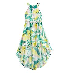 Girls 7-16 My Michelle Floral High-Low Halter Dress