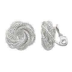 Dana Buchman Textured Knot Button Stud Clip-On Earrings