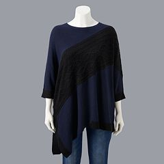 Plus Size Simply Vera Vera Wang Cable-Knit Asymmetrical Hem Tunic Sweater