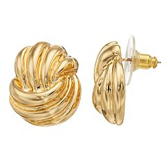 Dana Buchman Gold Tone Textured Button Stud Earrings