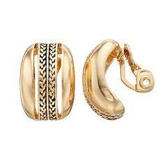Dana Buchman Gold Tone Textured Clip-On Earrings