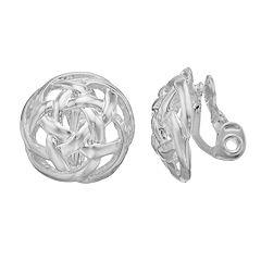 Dana Buchman Openwork Lattice Button Stud Clip-On Earrings