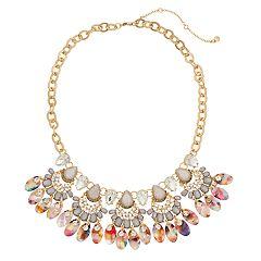 Gold Tone Simulated Stone Multi Colored Acetate Collar Necklace