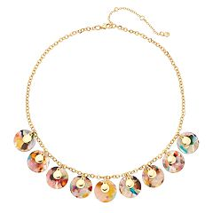 Gold Tone Multi Colored Acetate Disc Statement Necklace