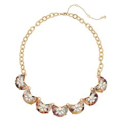 TREND Gold Tone Multi Colored Acetate Simulated Crystal Statement Necklace