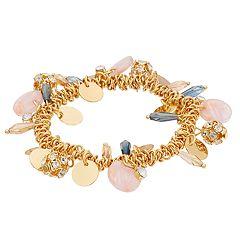 TREND Gold Tone Disc, Pink Acetate & Blue Bead Charm Bracelet