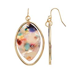 TREND Gold Tone & Multi Colored Acetate Oval Drop Earrings