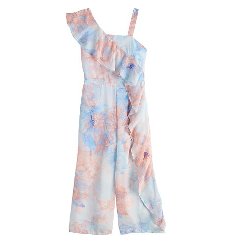 Girls 7-16 My Michelle One-Shoulder Printed Jumpsuit