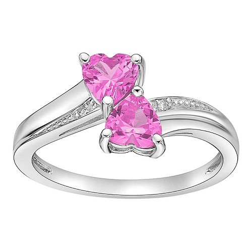 Sterling Silver Gemstone & Diamond Accent Double Heart Bypass Ring