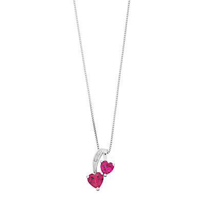 Sterling Silver Gemstone & Diamond Accent Double Heart Pendant Necklace