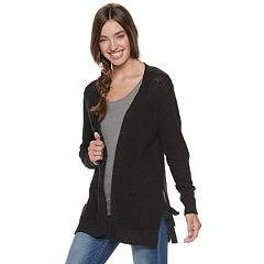 f69b082f25 Juniors  SO® Side Tie Open Front Cardigan. Spirited White Factory Pink Black  ...