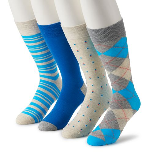 Men's Croft & Barrow® 4-Pack Opticool Fashion Crew Socks