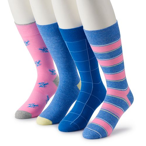 Men's Croft & Barrow® 4-Pack Opticool Patterned Fashion Crew Socks