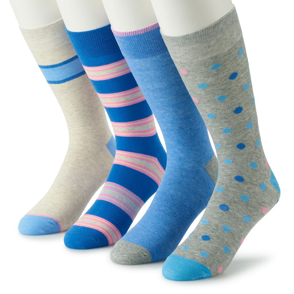Men's Croft & Barrow® 4-Pack Opticool Patterned Fashion Crew Socks