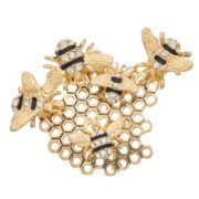 Napier Gold Tone Simulated Stone Bee Hive Motif Pin