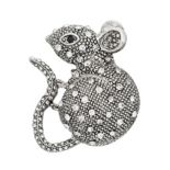 Napier Silver Tone Simulated Stone Mouse Motif Pin