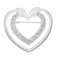 Napier Silver Tone Simulated Stone Heart Motif Pin