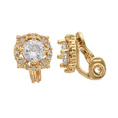 Dana Buchman Gold Tone Cubic Zirconia Button Stud Clip-On Earrings