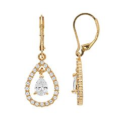 Dana Buchman Gold Tone Cubic Zirconia Orbital Teardrop Earrings