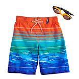 Boys 4-7 ZeroXposur Sharks Swim Trunks & Goggles Set