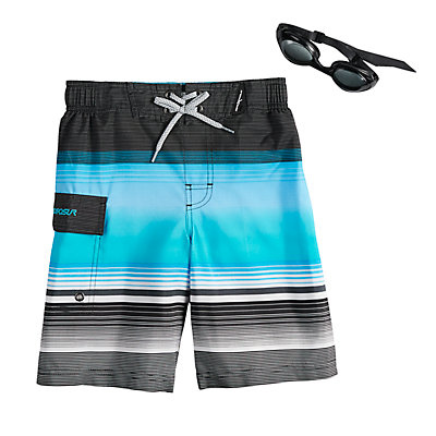 Boys 4-7 ZeroXposur Rip Cord Swim Trunks & Goggles Set