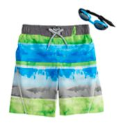 Boys 4-7 ZeroXposur Tie Dyed Swim Trunks & Goggles Set
