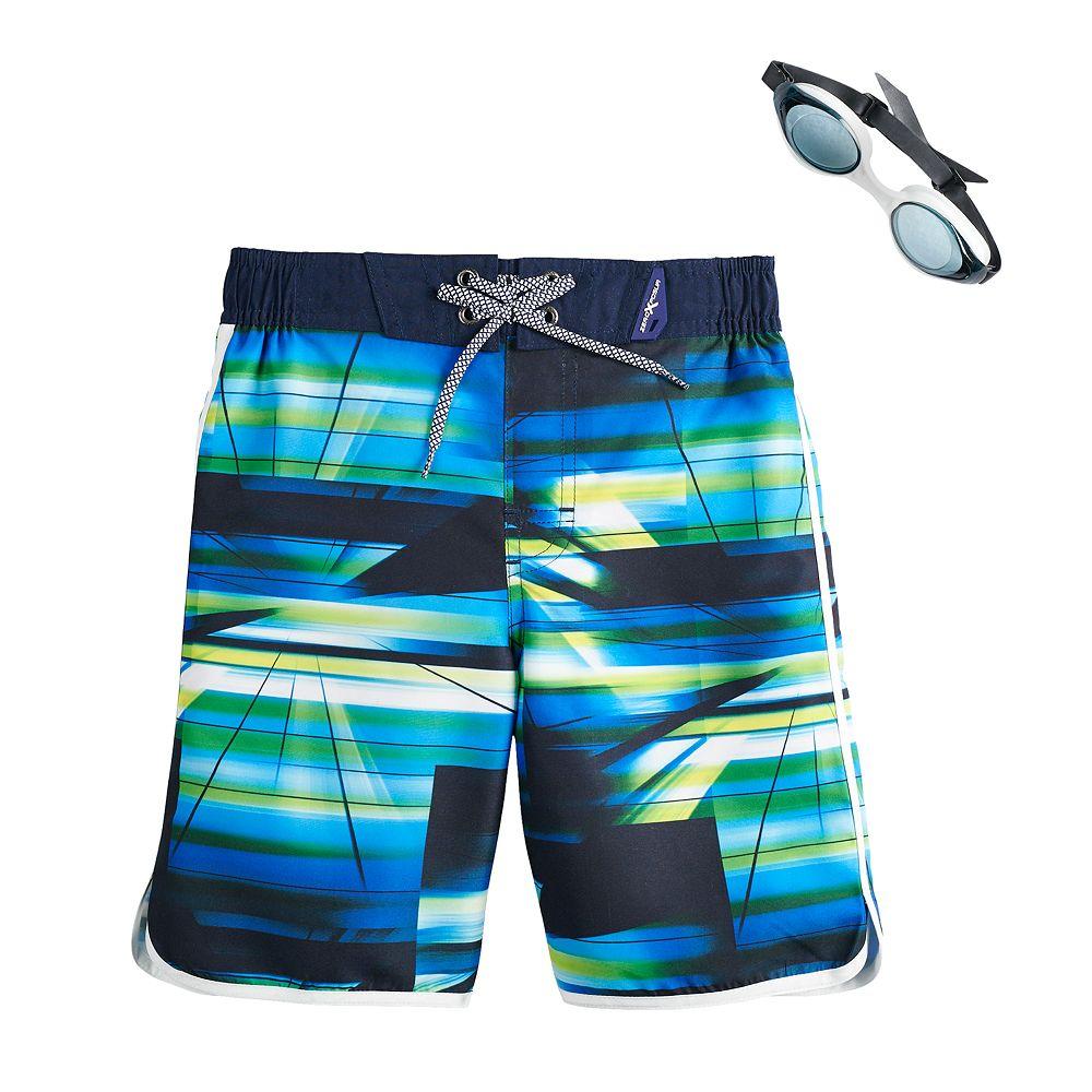 Boys 4-7 ZeroXposur Spectrum Abstract Swim Trunks & Goggles Set