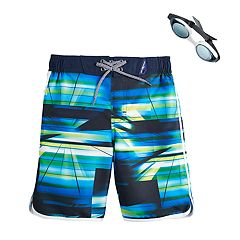 Boys 4-7 ZeroXposur Spectrum Abstract Swim Trunks & Goggles Set