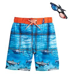 Boys 4-7 ZeroXposur Sharks Swim Trunks & Goggles Set