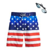Boys 4-7 ZeroXposur Americana Stars & Stripes Swim Trunks & Goggles Set
