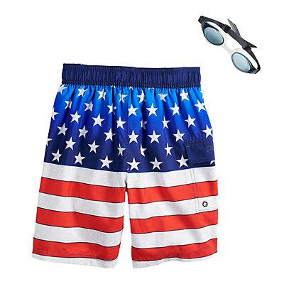 Boys 4-7 ZeroXposur Americana Stars & Stripes Swim Trunks & Goggles Set