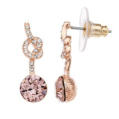 Brilliance Round Knot Drop Earrings with Swarovski Crystals