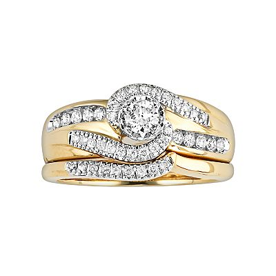 Cherish Always 14k Gold 1/2-ct. T.W. Certified Round-Cut Diamond Ring Set