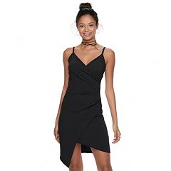 Juniors' Almost Famous Asymmetrical Faux-Wrap Dress