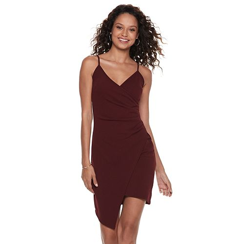 Juniors  Almost Famous Asymmetrical Faux-Wrap Dress fd4b2837d