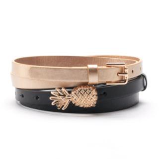 Women's SONOMA Goods for Life? Pineapple Buckle 2-for-1 Belt Set