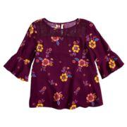 Girls 7-16 & Plus Size Mudd® Bell Sleeve Lace Yoke Top
