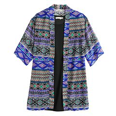 Girls 7-16 & Plus Size Knitworks Sleeveless Dress & Graphic Print Kimono