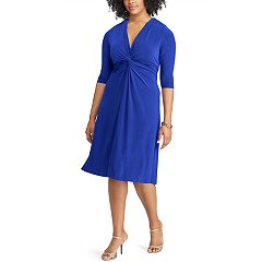Plus Size Chaps Solid Knot-Front Empire Dress