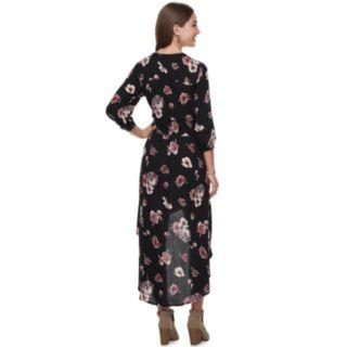 Juniors' American Rag Floral High-Low Crinkle Dress
